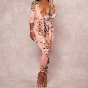 Pants - Plus size jumpsuit with floral design!